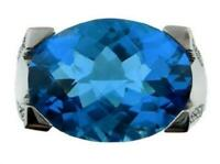 SOLID 14K WHITE GOLD LONDON BLUE TOPAZ & DIAMOND DINNER RING