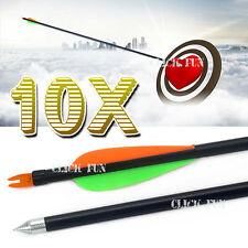 "10x 32"" NEW FiberGlass Arrows 15-80lb Archery Hunting Compound Bow Fiber Glass"