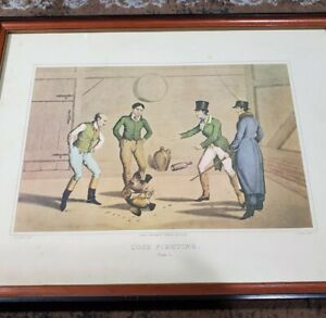 """1820 Henry Alken """"Cock Fighting"""" Plate 1 Hand Colored Framed Lithograph Print"""