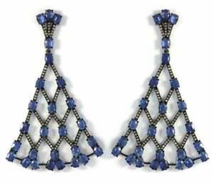 Natural Blue Sapphire Gemstone Earring Pave Diamond Earring 925 Silver Earring