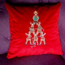 """Deer Pyramid"" Christmas Velvet Embroidered Pillow, Vera Lisitsyna"