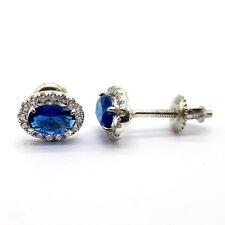 Blue Zircon Oval Shape Stud Earrings 925 Sterling Silver Screw Back Mom's Gift