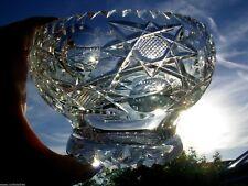 Royal Brierley Rose Bowl Pesados Grande Vintage Hecho a Mano Cristal De Plomo