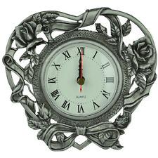 Glory Land Cast Metal Pewter Desk Home Décor Quartz Clock - Multi-Roses