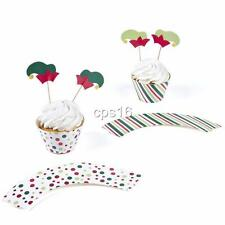 12 x Christmas Cupcake Collars + 12 Picks..Wrappers..Xmas Party Cake Decorations