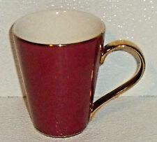 "Casati Coffee Mug Cup Burgundy Germany Gold Handle 4.25"""
