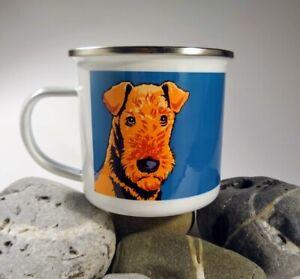 Airedale Terrier - single enamel mug with stainless steel rim.