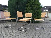 1 v 4 Stapelstuhl Stuhl Stacking Chair Freischwinger Korbgeflecht Rattan