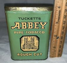 ANTIQUE TUCKETTS ABBEY PIPE TOBACCO TIN LITHO VERTICAL POCKET CAN CANADA CHURCH
