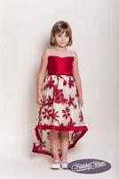 Claret Princess - Flower embroidered Girls Formal Party Bridesmaid Wedding Dress