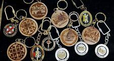"Jewish Jerusalem Bethlehem Shalom 1.25-1.75"" Mxd Wood Metal Key Chain Lot (N2)"