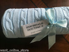 NWT Rochdale Boutique 100% Pure Cotton Cable Knit Baby Blanket / Shawl Blue Wrap
