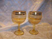 *DAMAGED* 2 MID CENTURY FROST CORDIAL LIQUOR DRINKING GLASSES GOLD RUB WORN USED