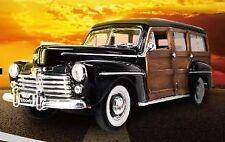 Ford Woody 1948 Black w/ Windsurf 1:18 Model LUCKY DIE CAST