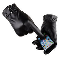 AM_ Men Touch Screen Gloves Winter Warm Faux Leather Plush Driving Mittens Sanwo