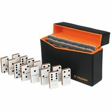 Truper Dominoes Game Set Double Six Domino Leather Case Truper Tools ManCave New