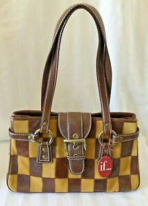 NWT Isabella Fiore medium tote bag brown checkerboard leather suede $375 retail