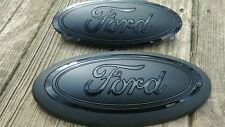 2018 F150 custom GRILL AND TAILGATE emblem MATTE/GLOSS BLACK, no front camera
