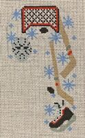 Needlepoint Handpainted CHRISTMAS Danji Hockey Candy Cane 3x5