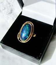 Black opal, gold ring. Excellent condition.