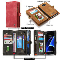 NEW Retro Wallet Luxury Leather Zipper Magnetic Removable Cover Card Slots Case