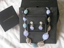 DAVID Yurman Chalcedony Silver Diamond Necklace & Earrings New DY Box & Pouch