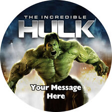 HULK PERSONALISED EDIBLE ICING PARTY CAKE DECORATION TOPPER ROUND IMAGE