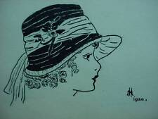 Lovely Antique Pen Ink Flapper Lady Woman In Hat Drawing Dated 1920 Signed Art