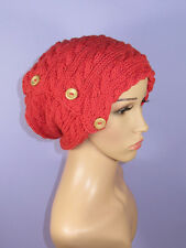 KNITTING INSTRUCTIONS - SIDEWAYS CABLE BUTTON  UP SLOUCH HAT KNITTING PATTERN