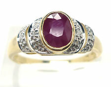RUBY DIAMOND RING  SIZE O - 9Carat  GOLD RUBY RING