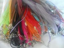 "10 x 18-19"" Cotton Wax Cord and Organza Ribbon Necklaces  handmade"