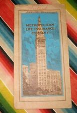 Vintage Metropolitan Life Insurance Co Met Life Tower Paper Folder Advertisement