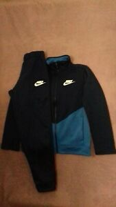 Boys Nike Blue Tracksuit Set Zip Up Top/Bottoms Size M Age 10-12 Years