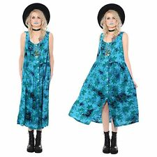 Vintage 80s 90s Tie Dye BATIK Rayon Midi Dress Ethnic Grunge Festival Gypsy Boho