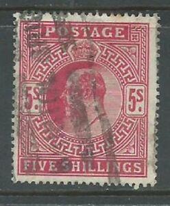 GB KEVII 1912 5/- carmine SG318 good used. (5941)