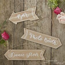 WOODEN WEDDING/PARTY VENUE SIGNS (Bar/Photo Booth/Dancefloor) Rustic Arrows-BOHO