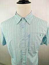 Merrell Men's Short Sleeve Opti Wick upf 30+ Shirt Casual Shirt Blue White M