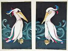 Portside Pal Starboard Companion by Beki Killorin Hand Colored Etching Pelican
