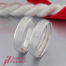 RINGE Trauringe/Eheringe - Damenring mit 1 Brillant 0,01ct - 9K/375 Weißgold