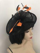 Fascinator Nero Arancione MATRIMONIO PIATTINO Cappello Formale Donna Disco Ovale Feathe