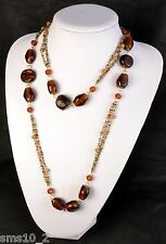 Brown Glass Beaded Necklace  CJN1107