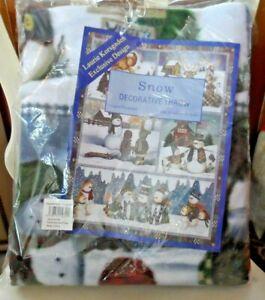 "Snow Decorative Throw w/ snowmen by Laurie Korsgaden 51"" x 64"""