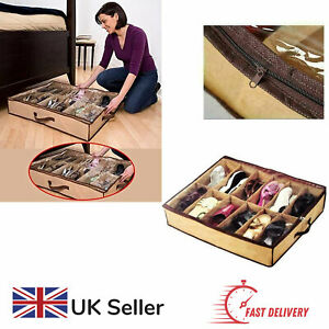 Shoe Storage Under Bed Case for 12 Pairs of Shoes Tidy Space Saving Zip Up