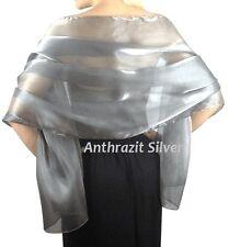 Chiffonschal Stola Schal Hochzeit Braut Abendkleid GRAU Überwurf Silber Anthrazi