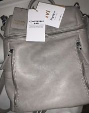 Miztique Handbags Totes Grey/Taupe/Beige Vegan Leather Hobo Backpack New
