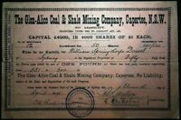 Scrip Australia 1895 - The Glen-Alice Coal & Shale Mining Company, Capertee, NSW