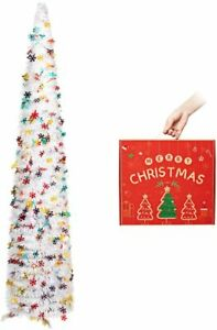 SLIM COLLAPSIBLE POP UP TINSEL CHRISTMAS TREE 150CM / 5FT WHITE XMAS DECORATION