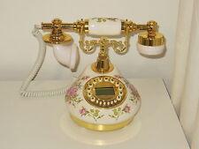 New Replica Antique Telephone Victorian Style Ceramic Button Dial Landline Cord