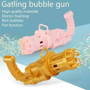 Gatling Bubble Machine Bubbler Maker Safe Summer Cooling Fan Gun Kid Outdoor Toy
