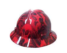 Hydrographic Red Toxic Skull MSA V-Guard Full Brim Hard Hat
